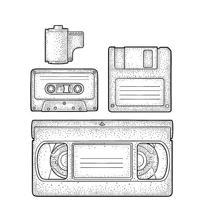 Set retro technology object. Floppy disk, photo film in cartridge, video and audio cassette. Vintage vector black engraving illustration for poster, web. Isolated on white background. Hand drawn design element Ilustração