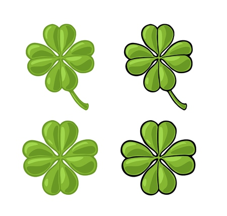 Good luck four leaf clover. Vintage color vector engraving illustration for info graphic, poster, web. Isolated on white background.