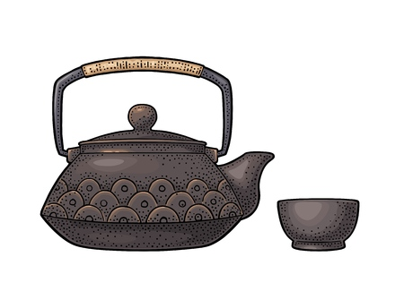 Traditional Asian teapot with pattern and cup. Vector color vintage engraving illustration isolated on white background. Hand drawn design element for label, menu, invitation tea ceremony