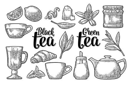 Set tea with lettering. Cup, branch, leaf, kettle, flower, lemon, croissant, bag, sugar shaker . Vector vintage engraving illustration for label, poster, web. Isolated on white background. Çizim