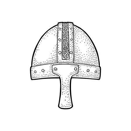 Viking medieval helmet. Engraving vintage vector black illustration. Isolated on white background.