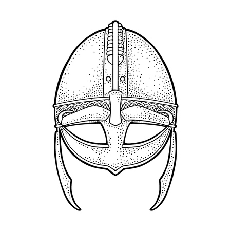 Viking medieval helmet. Engraving vintage vector black illustration. Isolated on white background. Hand drawn design element for label and poster
