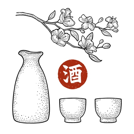 Sake glass, bottle and japan calligraphic hieroglyph. Sakura blossom. Cherry branch with flowers and bud. Vector vintage engraving black illustration for label, poster. Isolated on white background Illusztráció