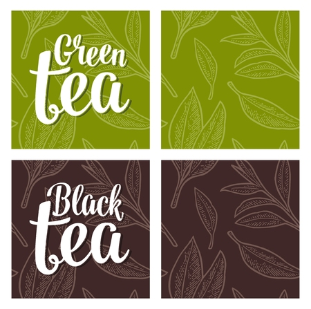 Seamless pattern with branch and leaf. Lettering Black Green Tea. Vector color vintage engraving illustration on green and dark brown background. For label, poster, web Stock Illustratie
