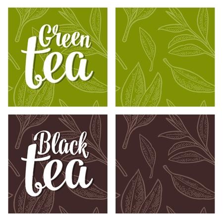 Seamless pattern with branch and leaf. Lettering Black Green Tea. Vector color vintage engraving illustration on green and dark brown background. For label, poster, web Illustration