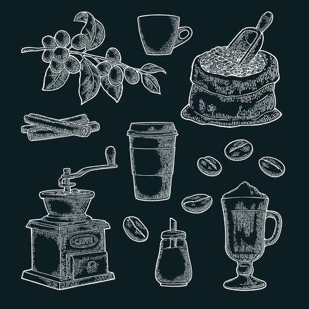 Set coffee. Glass latte, sack, beans, wooden scoop, hand-held grinder, sugar, scoop, cinnamon stick, branch with leaf and berry. Vintage white vector engraving illustration isolated on dark background
