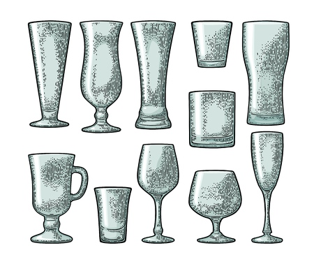 Set empty glass beer, vodka, whiskey, wine, gin, rum, tequila, cognac, champagne, cocktail. Vector engraving color vintage illustration isolated on white background Illustration