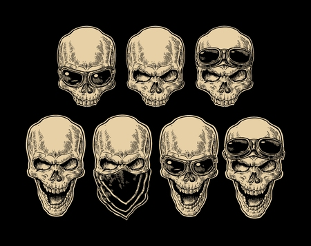 Skull smiling with bandana and glasses for motorcycle on forehead and eyes. Monochrome vintage vector illustration. For poster and tattoo biker club. Hand drawn design element isolated on black found.