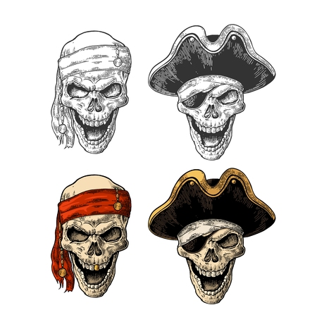 Skull in pirate with clothes eye patch, captainhat, bandana. Color vintage engraving vector illustration. For poster and tattoo biker club. Hand drawn design element isolated on dark background. Illustration