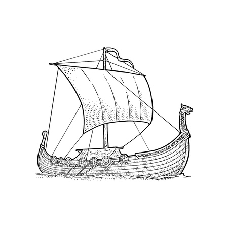 Drakkar floating on the sea waves, hand drawn design element sailing ship. Vintage vector black engraving illustration isolated on white background for poster, label and postmark. Vettoriali
