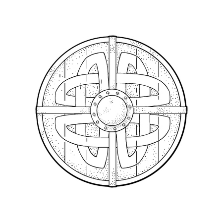 Wood round shield with viking runes. Vintage vector black engraving illustration. Isolated on white background. Hand drawn design element for poster, label, postmark