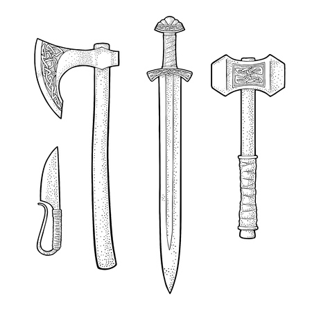 Set edged weapons viking. Knife, axe, sword and hammer with runes. Vintage vector black engraving illustration. Isolated on white background. Hand drawn design element for poster, label, tattoo Ilustração