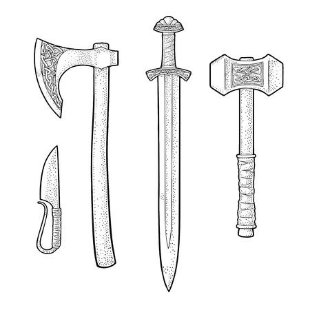 Stellen Sie scharfkantige Waffen Wikinger. Messer, Axt, Schwert und Hammer mit Runen. Weinlesevektorschwarz-Stichillustration. Isoliert auf weißem hintergrund Hand gezeichnetes Gestaltungselement für Plakat, Aufkleber, Tätowierung