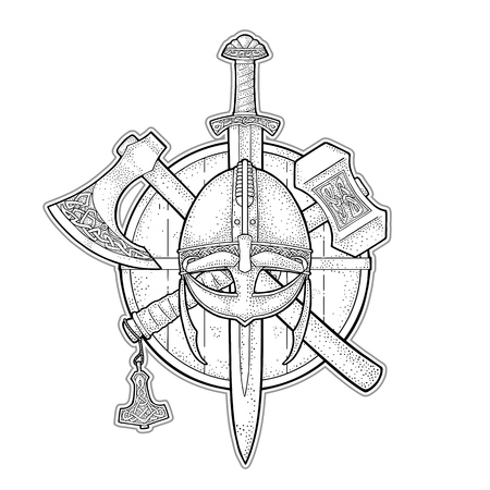 Set edged weapons viking. Knife, axe, helmet, sword, hammer with runes. Vintage vector black engraving illustration isolated on white background. Hand drawn design element for poster, label, tattoo