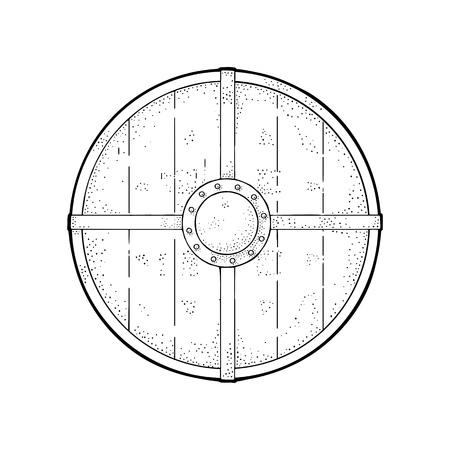 鉄の境界線が付いた木製の丸い盾。ヴィンテージベクターブラック彫刻イラスト。白い背景に隔離されています。ポスター、ラベル、タトゥーのた  イラスト・ベクター素材