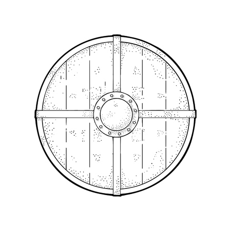 Wood round shield with iron border. Vintage vector black engraving illustration. Isolated on white background. Hand drawn design element for poster, label, tattoo