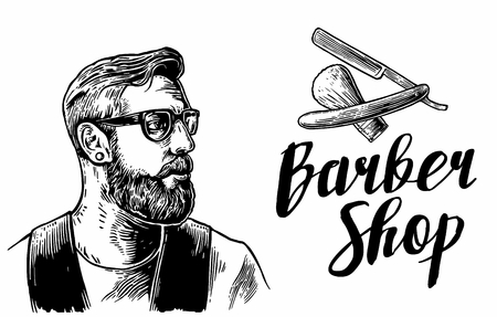 Hipster shave haircut services in the barber shop. Black and white vector illustrations and typography elements. Hand drawn vintage engraving for poster, label, banner, web. Vettoriali