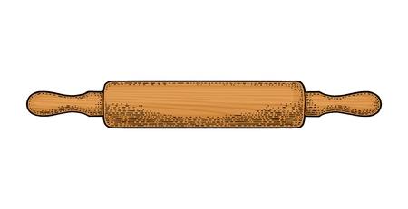 Rouleau à pâtisserie en bois. Illustration de gravure vintage couleur vecteur pour menu, affiche. Isolé sur fond blanc