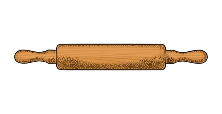 Wood Rolling Pin. Vector color vintage engraving illustration for menu, poster. Isolated on white background Иллюстрация