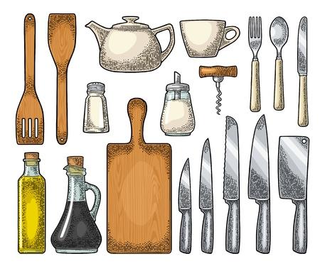 台所用品をセットします。木製のまな板、手動粉砕機、フライパンのスペード、ナイフ、スプーン、フォーク、ボトル、コルクスクリュー、シェー