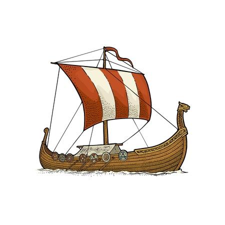 Drakkar che galleggia sulle onde del mare. Nave a vela elemento di design disegnato a mano. Illustrazione di incisione di colore vettoriale vintage. Isolato su sfondo bianco per poster, etichette, timbro postale. Vettoriali