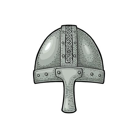 Viking medieval helmet. Engraving vintage color illustration. 일러스트