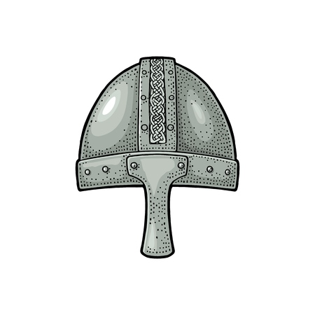 Viking medieval helmet. Engraving vintage color illustration. 일러스트
