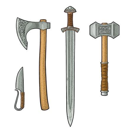 Set edged weapons viking. Knife, axe, sword, hammer. Vintage engraving. 일러스트