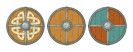 Establecer escudos redondos de madera con runas vikingas y borde de hierro. Ilustración de grabado de color de vector vintage. Aislado sobre fondo blanco Elemento de diseño dibujado a mano para póster, etiqueta, tatuaje