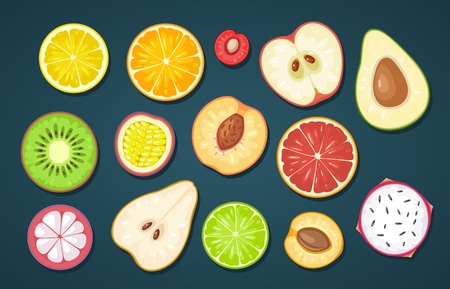 Set slice fruits on dark background