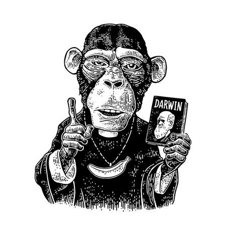 Monkey dressed in a cassock and banana chain. Priest holding book Darwin the theory of evolution and points with his finger up. Vintage black engraving illustration for poster. Isolated on white