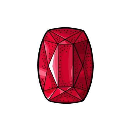 Ruby, red gem stone. Ilustração