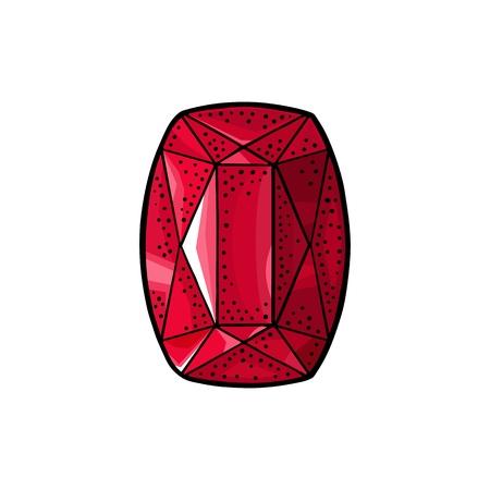 Ruby, red gem stone. Ilustrace