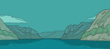 Panorama fiordo en Noruega. Dibujado a mano elemento de diseño velero. Ilustración de grabado de color de vector vintage para cartel, etiqueta, matasellos