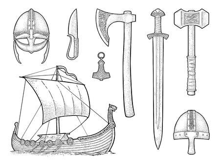 Set of viking icons: Knife, drakkar, axe, helmet, sword, hammer, thor amulet with runes. Vintage vector black engraving illustration isolated on white background.