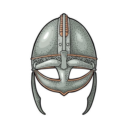 Viking medieval helmet, Engraving vintage vector color illustration. Isolated on white background.