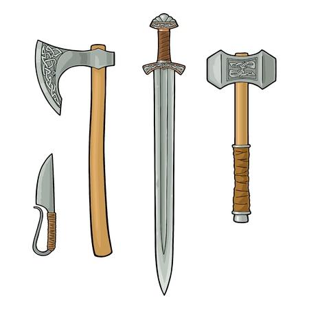 Définissez des armes tranchantes viking. Couteau, hache, épée et marteau avec runes. Illustration de gravure couleur vecteur vintage. Isolé sur fond blanc. Élément de design dessiné à la main pour affiche, étiquette, tatouage