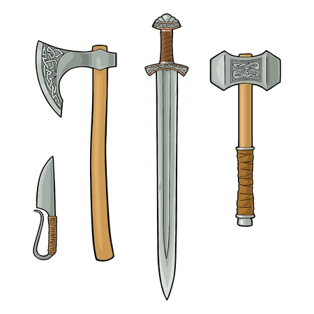 Set edged weapons viking. Knife, axe, sword and hammer with runes. Vintage vector color engraving illustration. Isolated on white background. Hand drawn design element for poster, label, tattoo