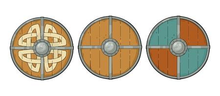 バイキングルーンと鉄の境界線で木製の丸いシールドを設定します。ヴィンテージベクターカラー彫刻イラスト。白い背景に隔離されています。ポ