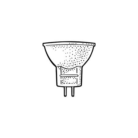 lampe halogène. Illustration de gravure noire vintage de vecteur sur fond blanc. Élément de design dessiné à la main pour étiquette et affiche