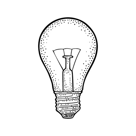 Glowing light incandescent bulb. Vector vintage black engraving illustration on white background Banco de Imagens - 95825923