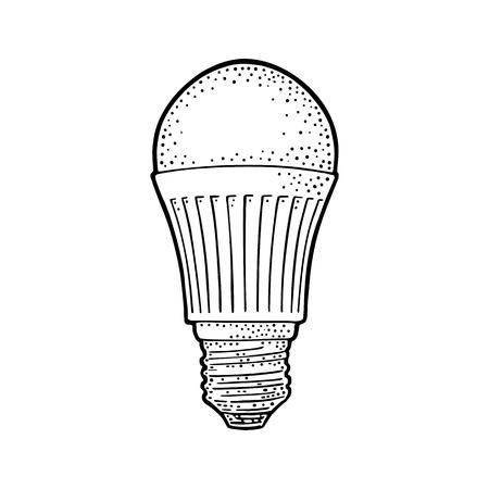 LED light bulb lamp. Vector vintage black engraving illustration on white background. Hand drawn design element for label and poster