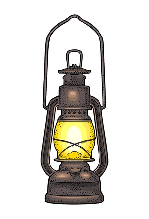 Antique retro gas lamp. Vintage color engraving illustration for poster, web Isolated on white background. Vettoriali