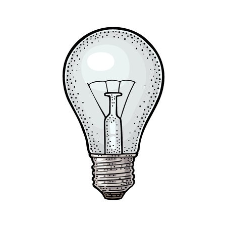 Glowing light incandescent bulb vector vintage color engraving illustration isolated on white background.