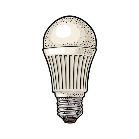 LED light bulb lamp vector vintage color engraving illustration on white background. Hand drawn design element for label and poster.