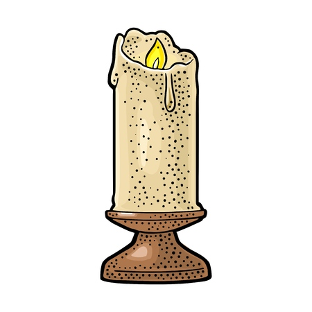 Burning candle with holder and fire flame isolated on white background. Vintage vector color engraving illustration for celebration, poster and web. Hand drawn design element for label and poster.