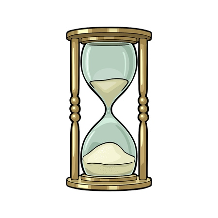 Retro hourglass. Vector color vintage illustration outline in retro sketch style. Isolated on white background. Hand drawn design element for label, poster