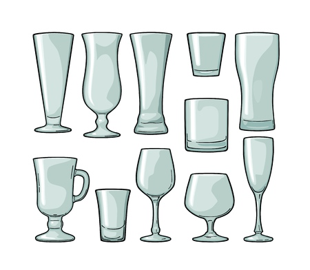 Set empty glass beer, vodka, whiskey, wine, gin, rum, tequila, cognac, champagne, cocktail. Vector engraving color vintage illustration isolated on white background 일러스트