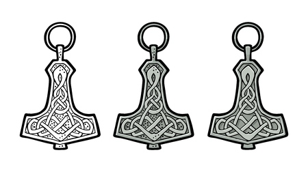 Vking hammer thor amulet with runes. Vintage vector color engraving. Çizim