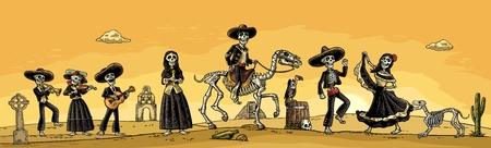 The skeleton in the Mexican national costumes dance, sing, play the guitar, violin, trumpet. Vector vintage engraving. Panorama desert with cactus and sunset with cloud for Dia de los Muertos poster
